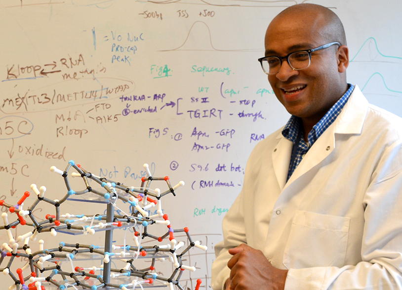 Dr. Jason Watts, an early-career physician-scientist, in the lab with a molecular model.