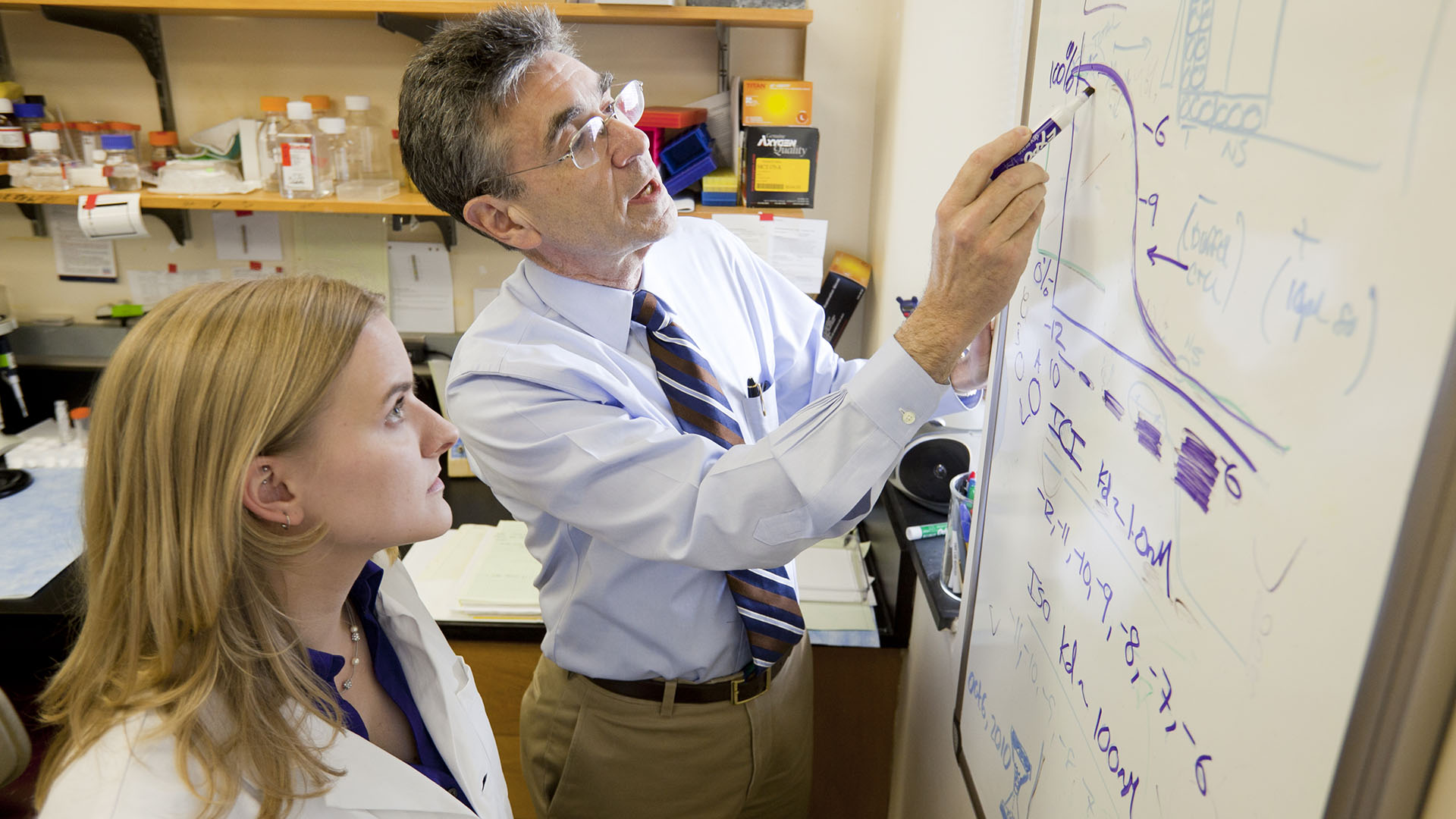 Dr. Robert Lefkowitz reviews a graph with a female medical student.